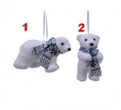 Assorted Flocked Polar Bear Tree Decorations 2 to choose from