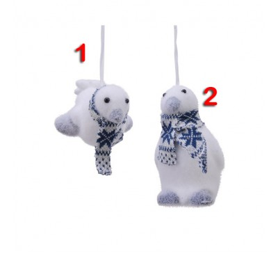 Assorted Flocked Penguin Tree Decorations 2 to choose from