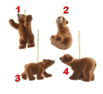 Assorted Flocked Bears Tree Decorations 2 to choose from