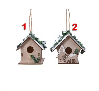 Assorted Plywood Birdhouse Christmas Decorations 2 to choose from
