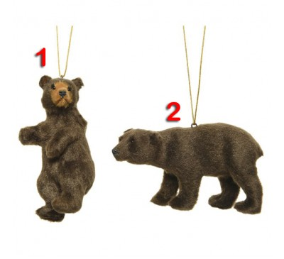Assorted Flocked Bears Tree Decorations 4 to choose from