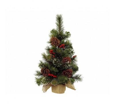 Snowy Mini Tree Berries-Pinecones 45cm