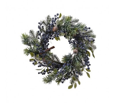 Frosted Wreath with Blue Berries