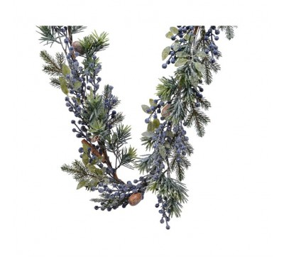 Frosted Garland with Blue Berry 270cm
