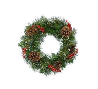 Snowy Wreath Berries-Pinecones 50cm