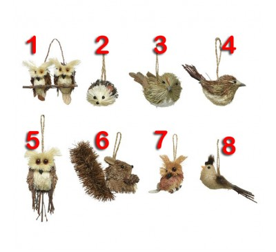 Assorted Grass Animal Tree Decorations 8 to choose from