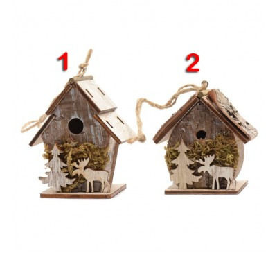 Assorted Bark Birdhouses with Reindeer Decoration 2 to choose from