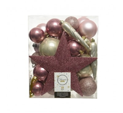 Shatterproof Baubles Pink Gold Mix with Star
