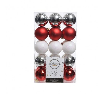 Shatterproof Bauble Pack Red Silver White Mix
