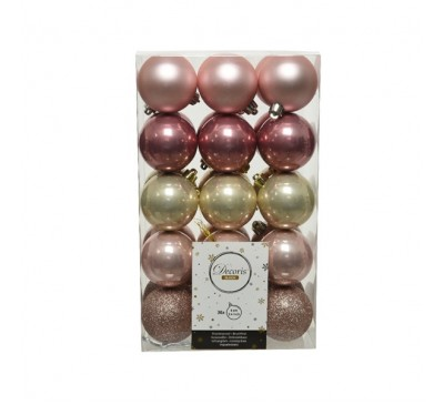 Shatterproof Bauble Pack Pink Pearl Gold Mix