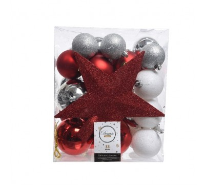 Shatterproof Baubles Red White Silver Mix with Star