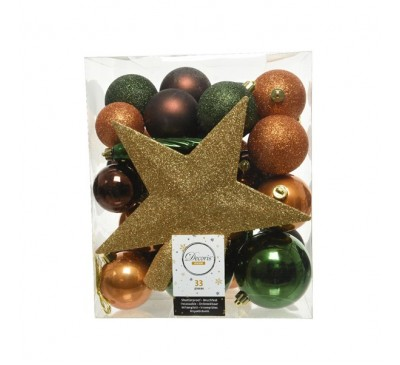 Shatterproof Baubles Gold Brown Green Mix with Star