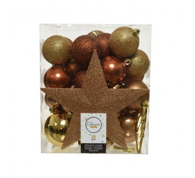 Shatterproof Baubles Gold Mix with Star