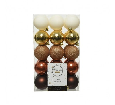 Shatterproof Bauble Pack Gold White Brown Mix
