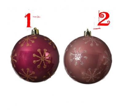 Bauble Shatterproof with snowflake Assorted