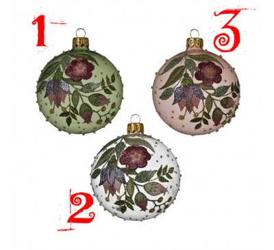 Glass Transparent Baubles with Flowers Assorted