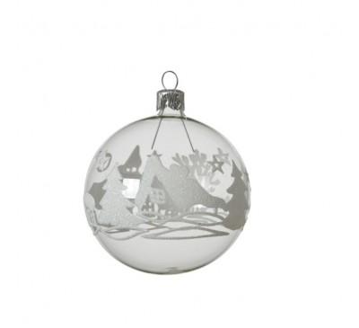 Transparent Glass Winter Scene Bauble