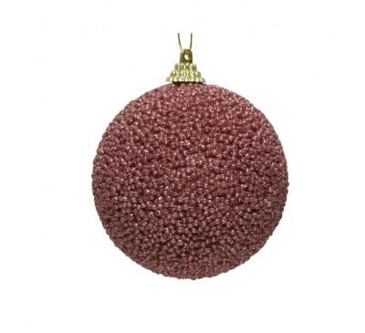 Velvet Pink Glitter Bead Bauble
