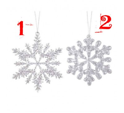 Silver Acrylic Snowflake with Glitter Assorted