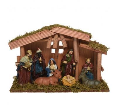 Mdf Nativity House Mary Joseph Jesus 3 Kings Cow Donkey 12cm figures