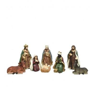 Nativity Set Mary Joseph Jesus 3 Kings Cow Donkey