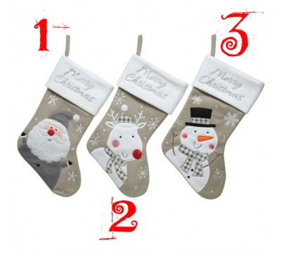 Grey / White Christmas Stockings