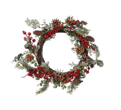 Plastic Wreath with Berries and Pinecones