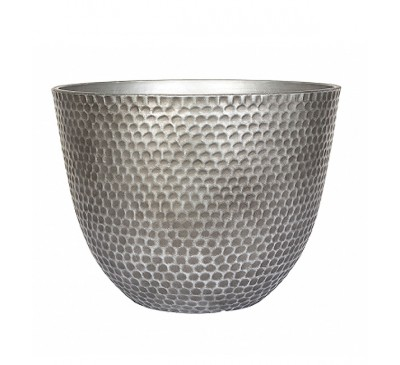 Silver Metal Effect Plant Pot Large