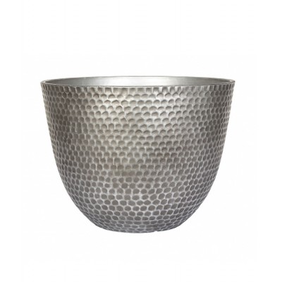Silver Metal Effect Plant Pot Small