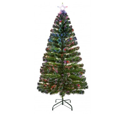 1.5m Fibre Optic Tree with Pine Cones and Berries with Tree Top Star