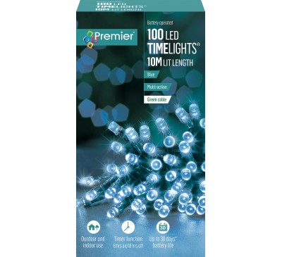 100 Multi-Action Battery Operated Blue LED Lights With Timer