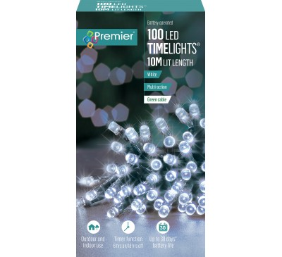 100 Multi-Action Battery Operated White LED Lights With Timer
