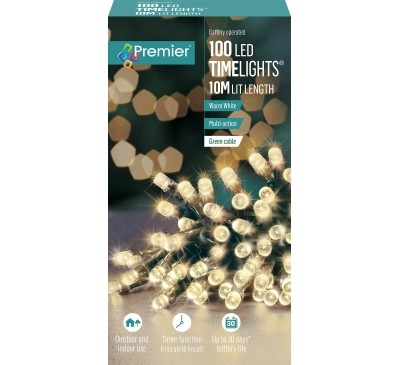 100 Multi-Action Battery Operated Warm White LED Lights With Timer