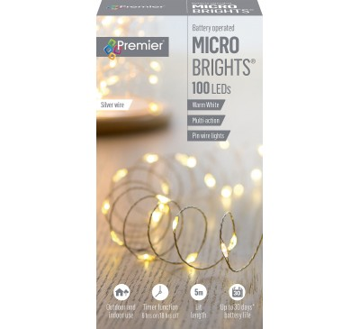 100 Battery Operated Multi-Action MicroBrights Warm White with Timer