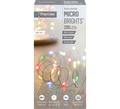 200 Multi-Action Battery Operated MicroBrights Multi-Coloured with Timer