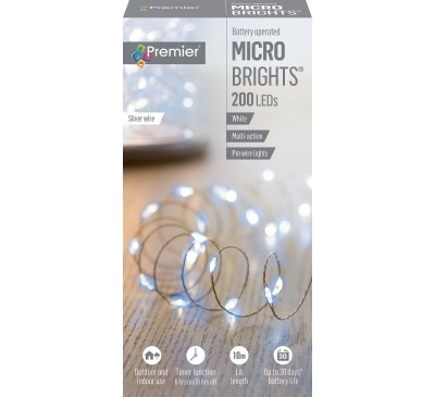 200 Multi-Action Battery Operated MicroBrights White with Timer