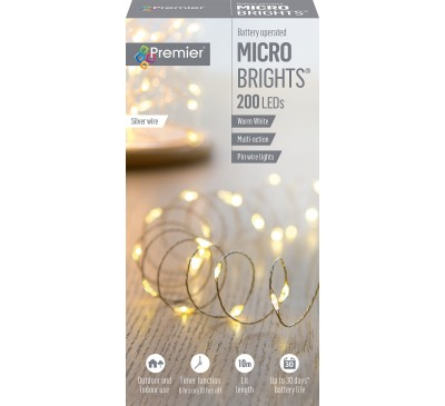 200 Multi-Action Battery Operated MicroBright Warm White with Timer