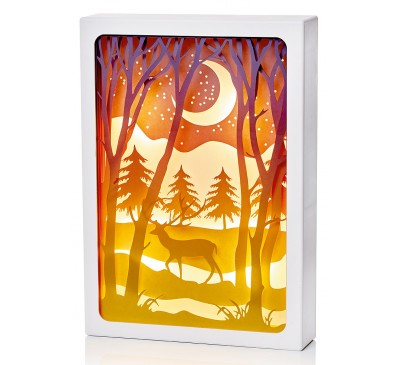 21cm Paper Diorama with Moonlight Reindeer Scene -8 LEDs
