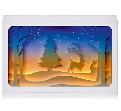 14cm Paper Diorama with Reindeer Scene - 4 LEDs