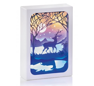 11cm Paper Diorama with Moonlight Scene - 4 LEDs