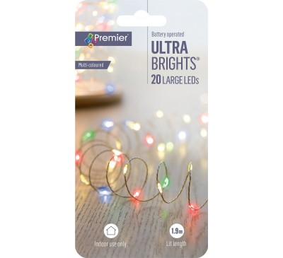 20 LED Battery Operated Ultrabright Multi-coloured Lights