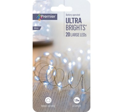 20 LED Battery Operated Ultrabright Warm White Lights