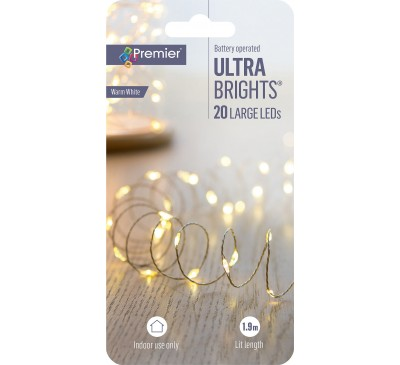 20 LED Battery Operated Ultrabright White Lights