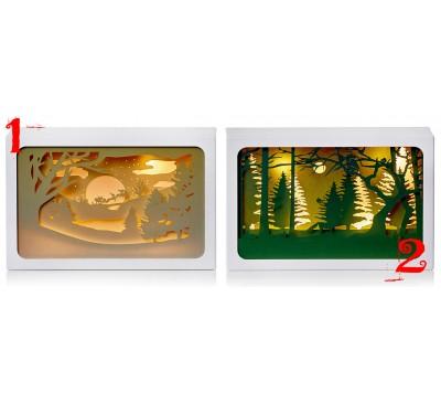 14cm Diorama Sleigh and Woodland Scene Assorted
