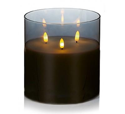 15cm Triple Flame in Glass Grey