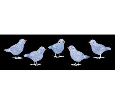 16cm 5 piece Acrylic Birds with 30 White LEDs
