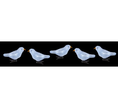 16cm 5 piece Acrylic Birds with Clip and 30 White LEDs
