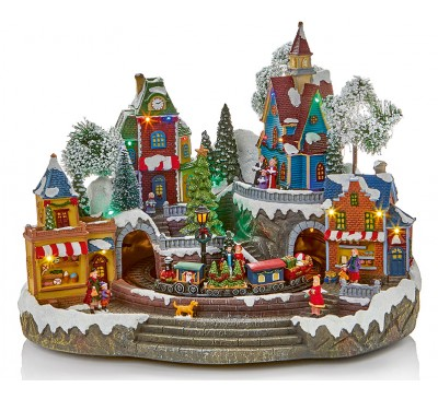 45cm Musical Christmas Village with Turning Tree and Train