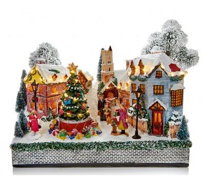 35cm Illuminated Animated Musical Winter Village