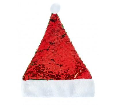 38cm Flip Sequin Santa Hat with Pom  Red-Green